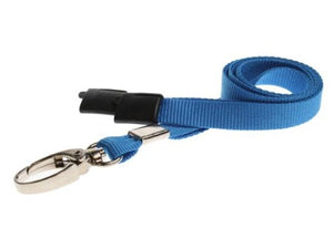 10mm Flat Unbranded Light Blue Lanyards with Metal Clip