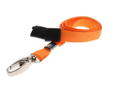 10mm Flat Unbranded Orange Lanyards with Metal Clip