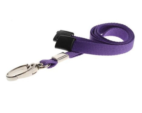Purple Lanyards Plain Flat 10mm with Metal Clip - Promotions Only Lanyards