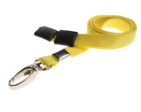 Yellow Lanyards Plain 10mm Flat with Metal Clip - Promotions Only Lanyards
