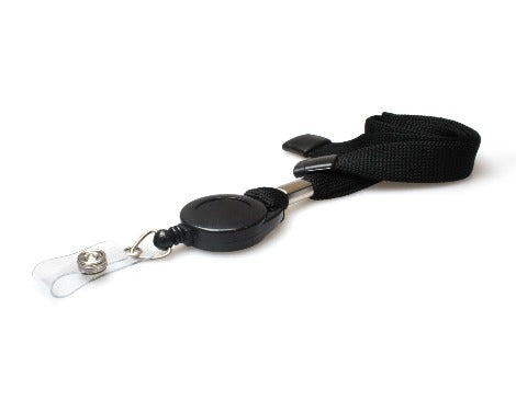 Plain Black 16mm Tubular Retractable Lanyard - Promotions Only Lanyards