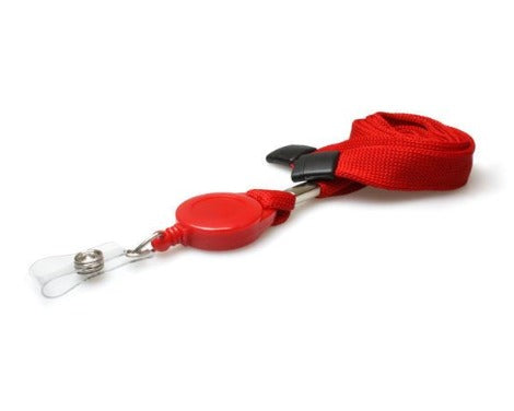 Plain Red 16mm Tubular Retractable Lanyard