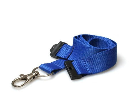 20mm Flat Unbranded Blue Lanyards