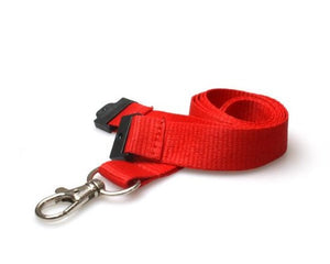 Red Lanyards Plain 20mm Flat - Promotions Only Lanyards