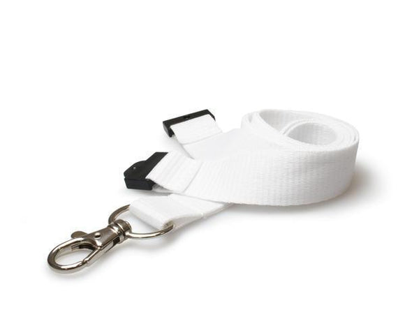 20mm Flat Unbranded White Lanyards