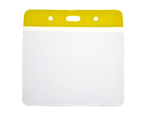 Yellow Colour Coded PVC Clear Plastic Card Holder - 10cm by 8cm - Promotions Only Lanyards