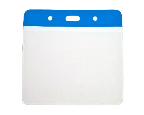 Blue Colour Coded PVC Clear Plastic Card Holder - 10cm by 8cm - Promotions Only Lanyards
