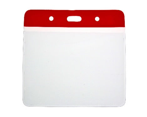 Red Colour Coded PVC Clear Plastic Card Holder - 10cm by 8cm - Promotions Only Lanyards