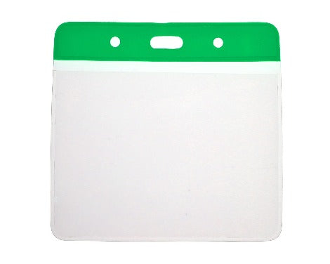Green Colour Coded PVC Clear Plastic Card Holder - 10cm by 8cm - Promotions Only Lanyards