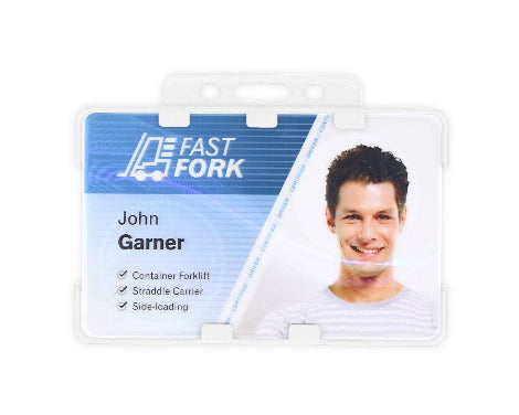 White Dual-Sided BIOBADGE Open Faced ID Card Holders - Landscape - Promotions Only Lanyards