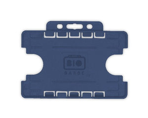 Dark Blue Dual-Sided BIOBADGE Open Faced ID Card Holders - Landscape - Promotions Only Lanyards