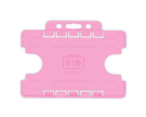 Pink Dual-Sided BIOBADGE Open Faced ID Card Holders - Landscape - Promotions Only Lanyards