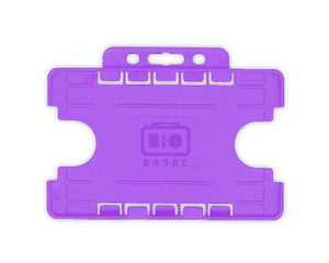 Purple Dual-Sided BIOBADGE Open Faced ID Card Holders - Landscape - Promotions Only Lanyards