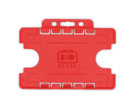 Red Dual-Sided BIOBADGE Open Faced ID Card Holders - Landscape - Promotions Only Lanyards