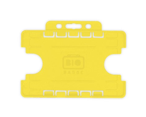 Yellow Dual-Sided BIOBADGE Open Faced ID Card Holders - Landscape - Promotions Only Lanyards