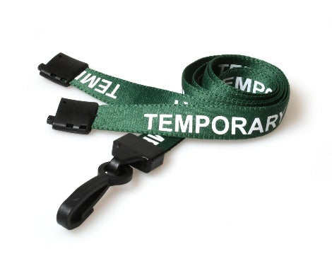 Green Temporary Lanyards with Plastic J Clip