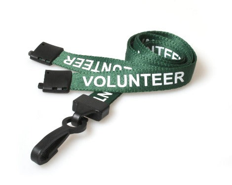 Green Volunteer Lanyards with Plastic J Clip