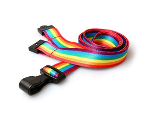 Rainbow lanyards 15mm with Plastic J-Clip - Promotions Only Lanyards