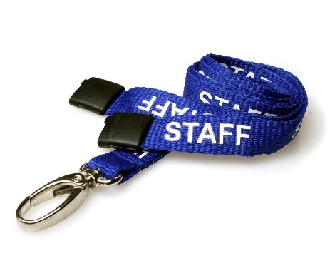 Blue Staff Lanyards 15mm Oval Clip - Promotions Only Lanyards
