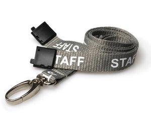 Grey Staff Lanyards 15mm with Metal Oval Clip - Promotions Only Lanyards