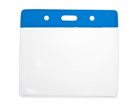 Blue Colour Coded PVC Clear Plastic Card Holder - Credit Card Size - Promotions Only Lanyards
