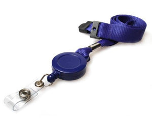 rPET Navy Blue Lanyards 15mm with Card Reels - Promotions Only Lanyards