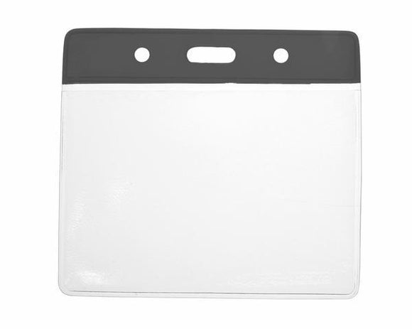 Black Colour Coded PVC Clear Plastic Card Holder - Credit Card Size - Promotions Only Lanyards