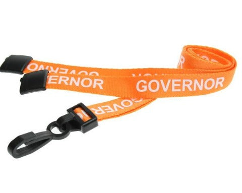 Governor Pre-Printed 15mm Lanyard with Plastic Hook in Orange