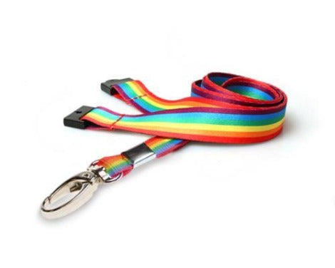 Rainbow Lanyards 15mm with Metal Oval Clip - Promotions Only Lanyards