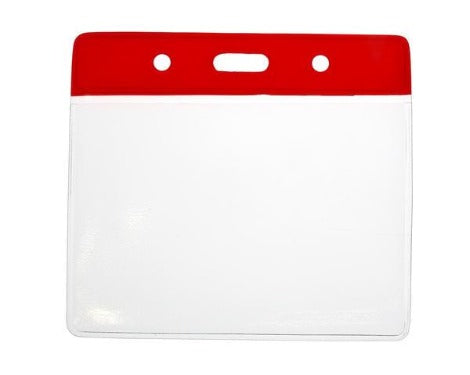 Red Colour Coded PVC Clear Plastic Card Holder - Credit Card Size - Promotions Only Lanyards