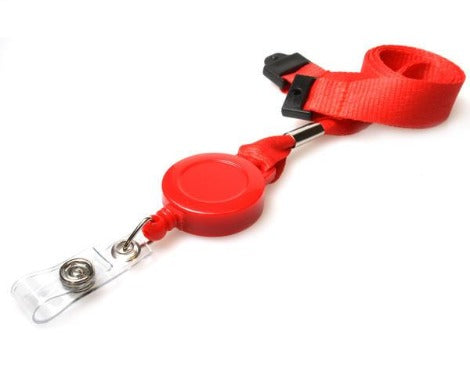 15mm rPET Plain Red Lanyards with Card Reels
