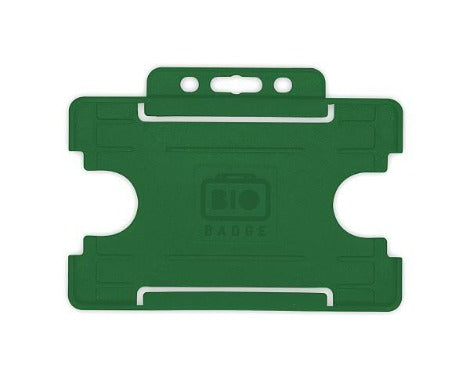 Dark Green Card Holder BioBadge Single-Sided Landscape - Promotions Only Lanyards