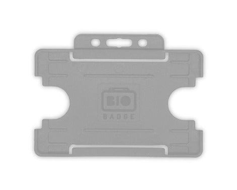 Grey Single-Sided BIOBADGE Open Faced ID Card Holders - Promotions Only Lanyards