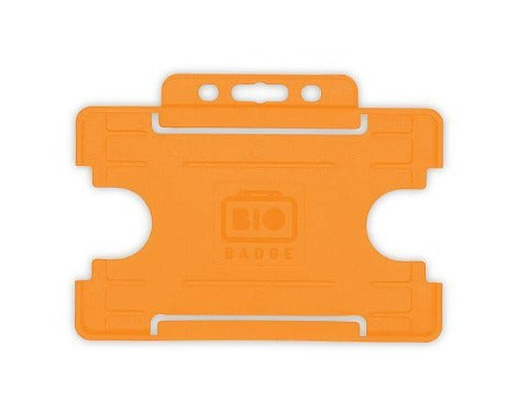 Orange Card Holders BioBadge Single-Sided Landscape - Promotions Only Lanyards