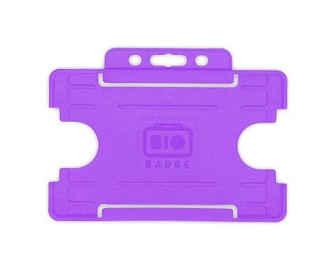 Purple Single-Sided BIOBADGE Open Faced ID Card Holders - Promotions Only Lanyards