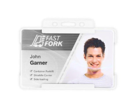 White Single-Sided BIOBADGE Open Faced ID Card Holders - Promotions Only Lanyards