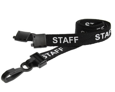 Black Staff Lanyards with Plastic J Clip