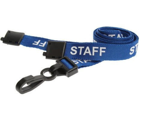 Blue Staff Lanyards with Plastic J Clip