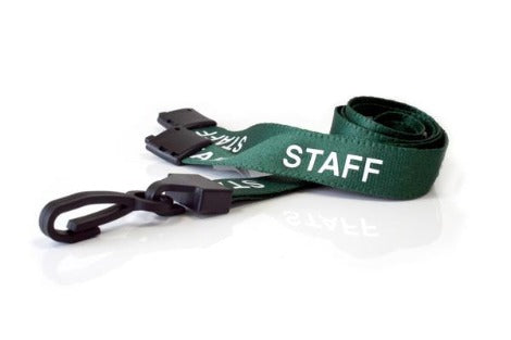 Green Staff Lanyards 15mm with Plastic J Clip - Promotions Only Lanyards