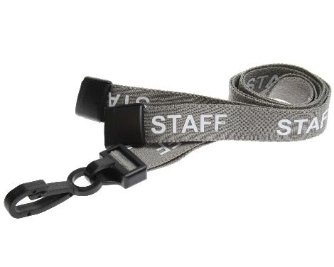Grey Staff Lanyards 15mm with Plastic J Clip - Promotions Only Lanyards