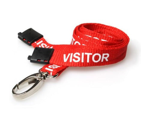 15mm Red Visitor Lanyards with Breakaway and Metal Lobster Clip