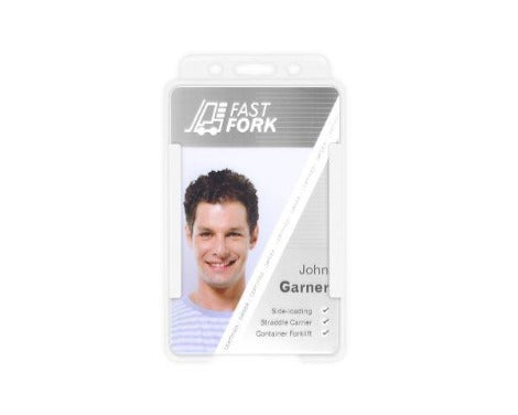 White Single-Sided BIOBADGE Open Faced ID Card Holders - Portrait