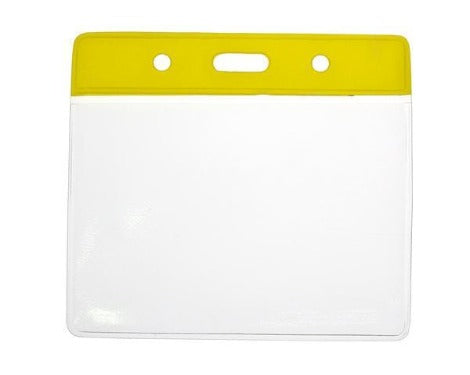 Yellow Colour Coded PVC Clear Plastic Card Holder - Credit Card Size - Promotions Only Lanyards