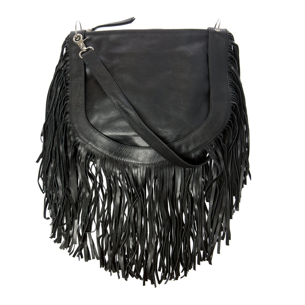 Tassel (removable tassels) leather bag- Black
