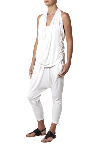 Super soft jersey harem pants - White
