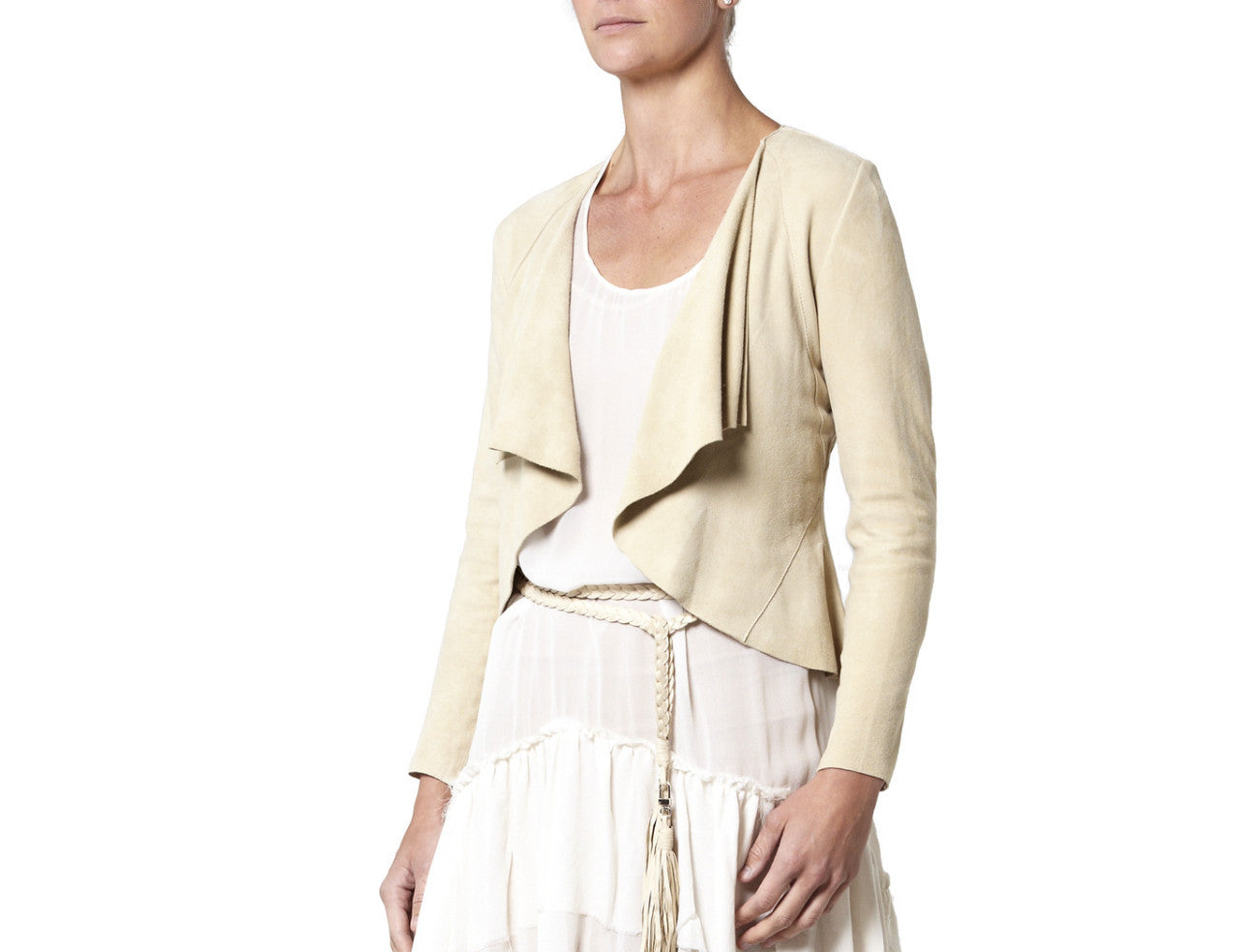 Suede Drape Jacket - Cream