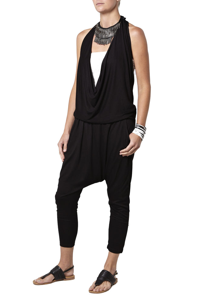 Supersoft jersey harem pants - black