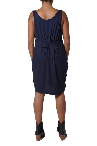 Dress with elastic detail at back - Dark Blue