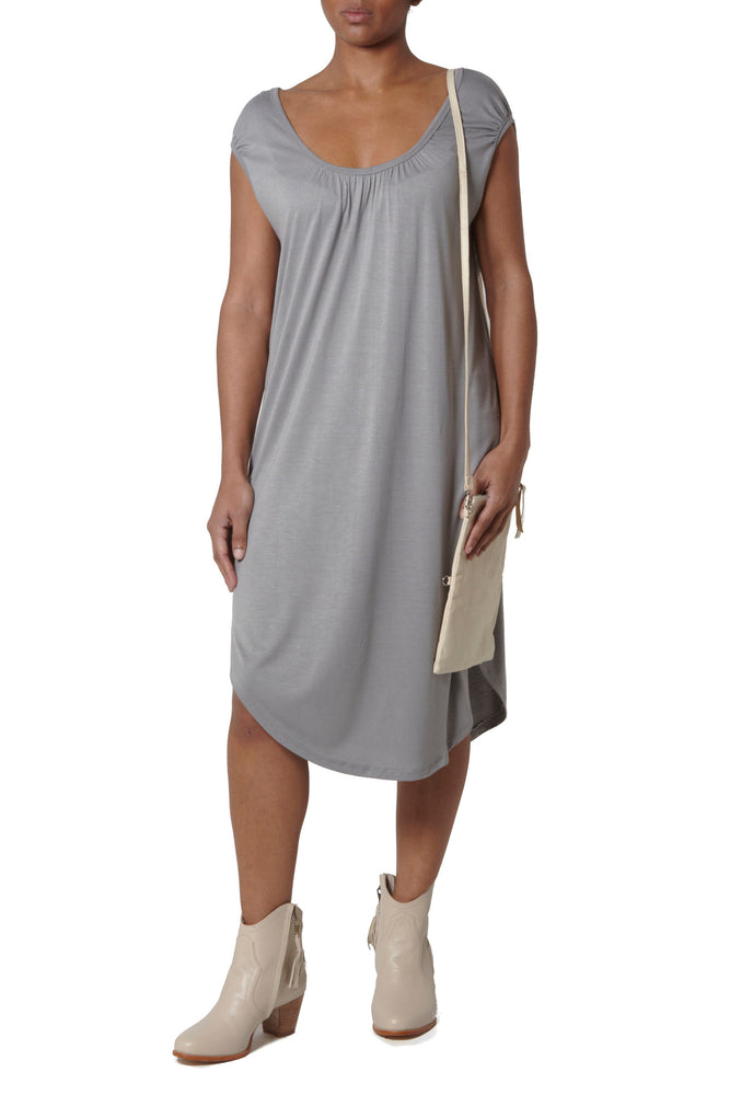Basic dress with rounded shoulders - Light Grey