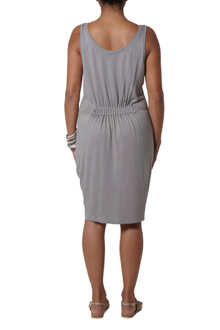 Dress with elastic detail at back - Light grey
